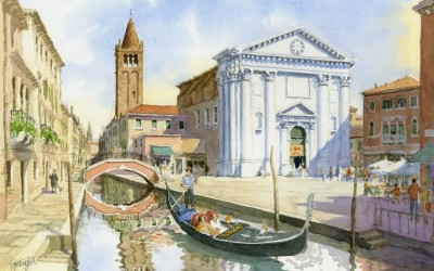 Painting of the Week! Campo San Barnaba, Venice