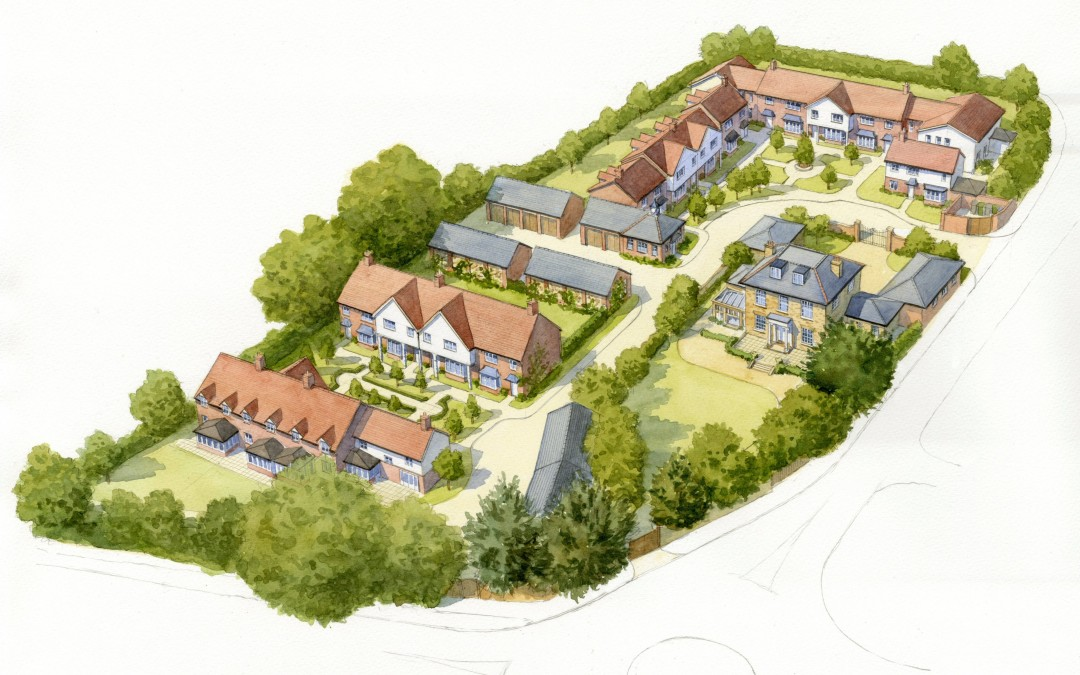 Aerial illustration of courtyard housing development