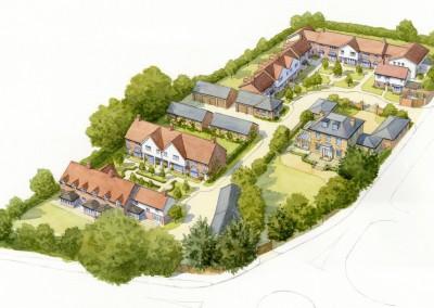 Aerial illustration of courtyard housing development