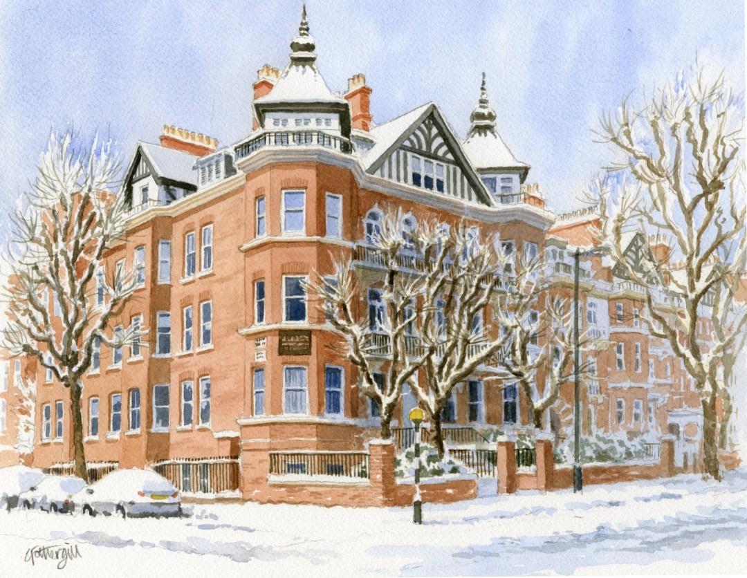 London Mansion in Snow