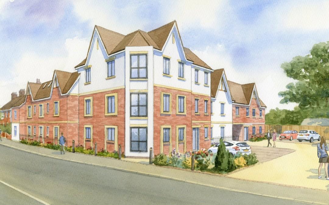 Artists impression Apartments block new build on existing pub site