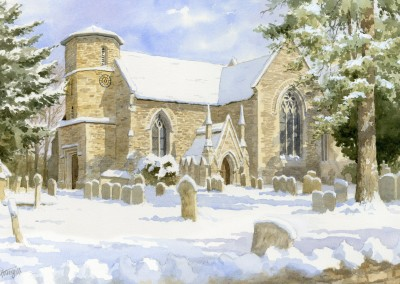 Fyfield Church in Snow
