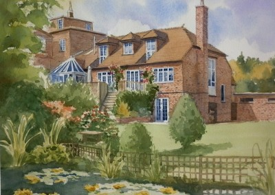 House with lily pond