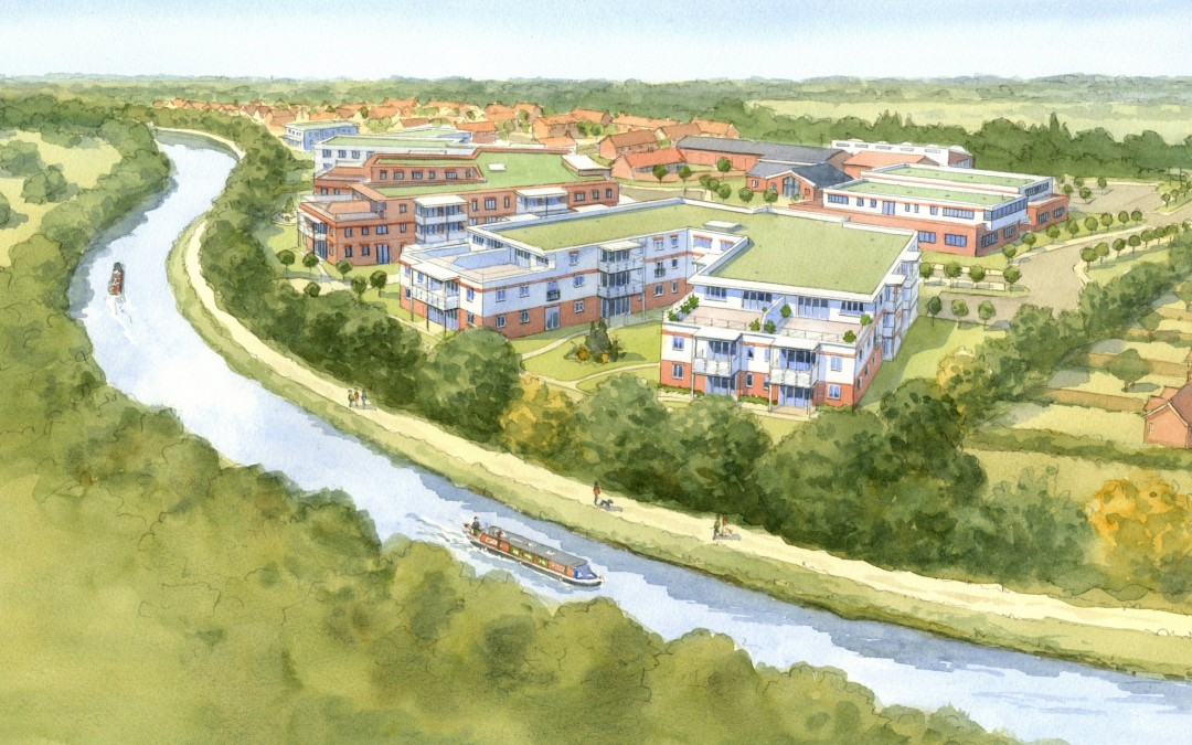 Aerial watercolour canal-side retirement village