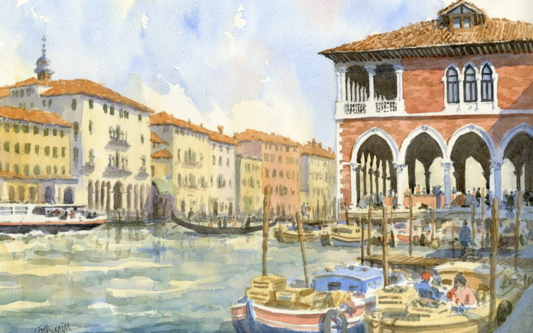 Painting demo of The Fishmarket, Venice