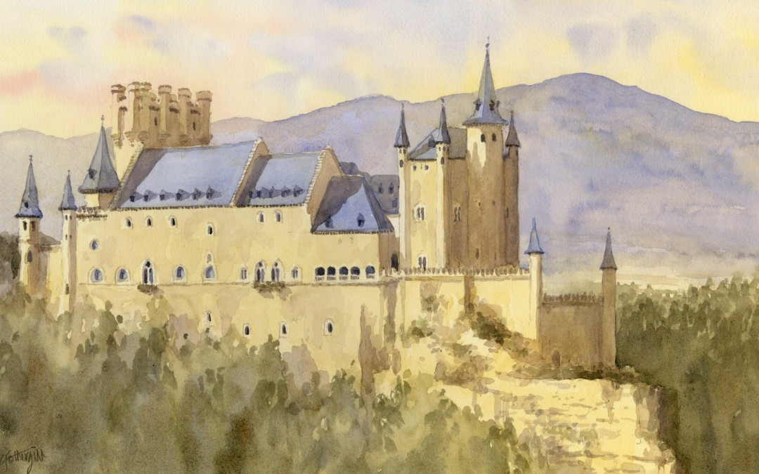 Time lapse Painting demo of the Alcazar Castle in Segovia