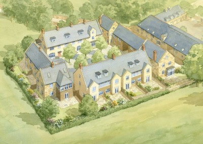 Aerial illustration courtyard housing development
