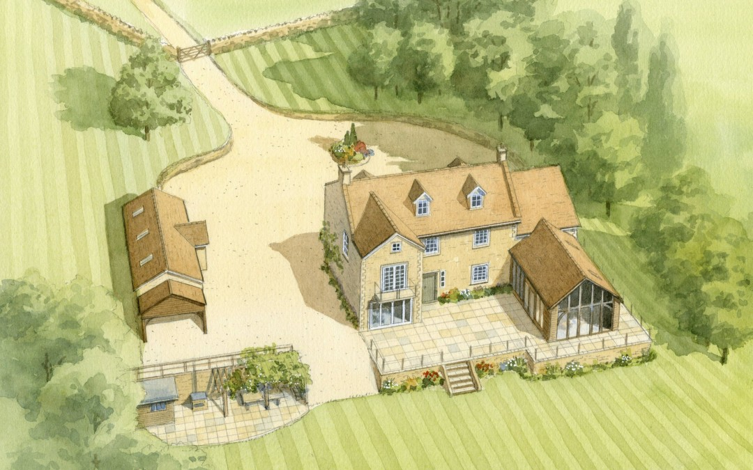 Aerial illustration of farm barn conversion