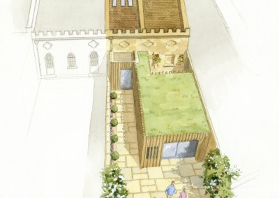 Artist's impression of mews garage conversion with courtyard