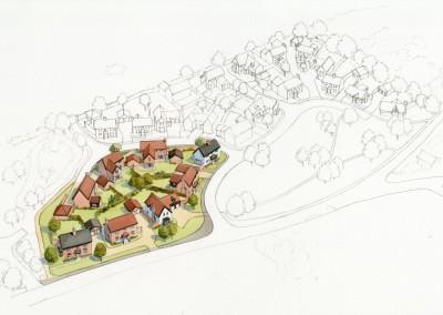 Aerial housing development phase 1 shown