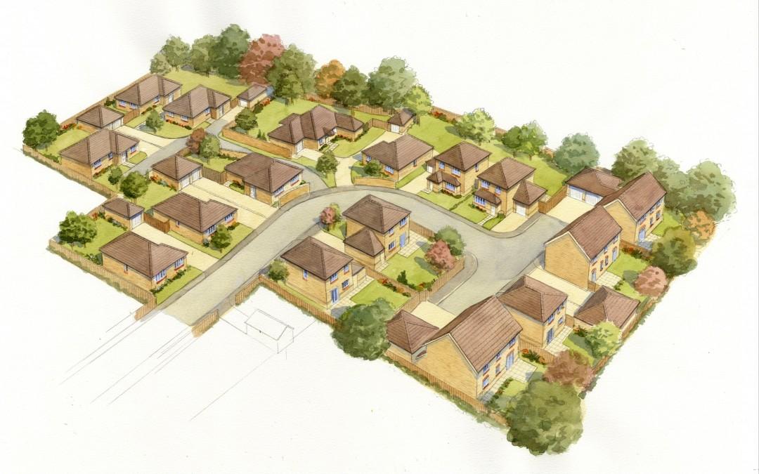 Aerial illustration of proposed rural housing development