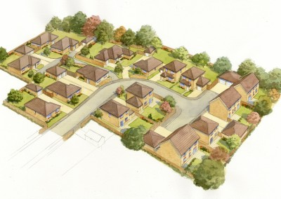 Aerial illustration of proposed rural housing development