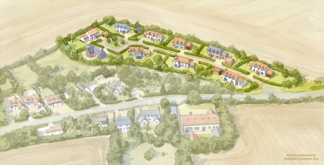 Aerial illustration of housing development in existing village setting