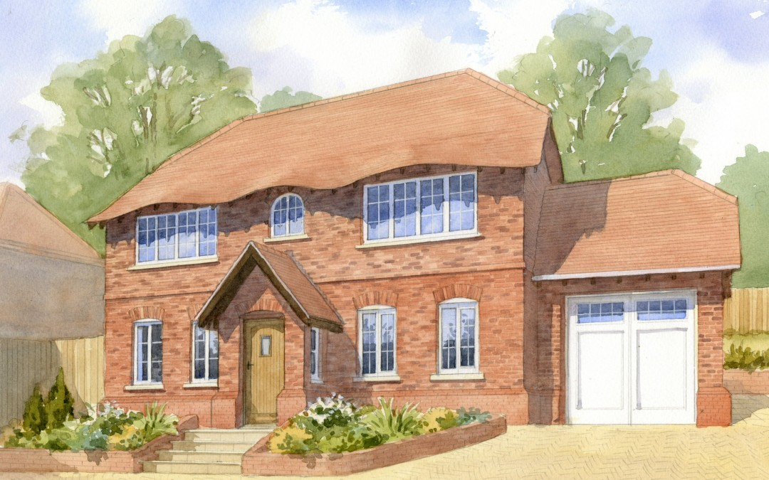 Brick-built detached house with eyebrow eaves