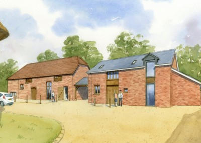Brick farm buildings converted to business use
