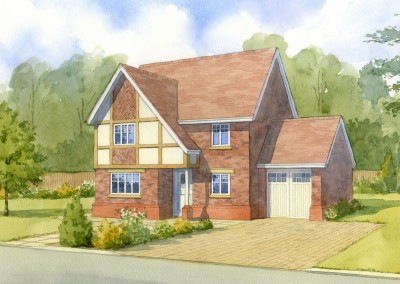 Brick half-timbered new detached house in setting