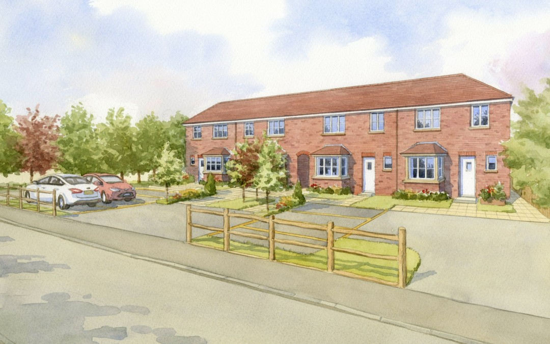 New brick terrace of houses with parking