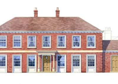 Watercolour elevation of neo-classical house front facade