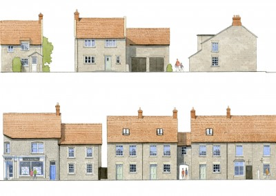 Watercolour street house elevations