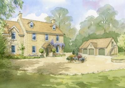 Artist's impression of farmhouse redevelopment
