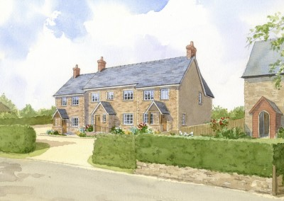 Flint and stone terraced houses in country setting