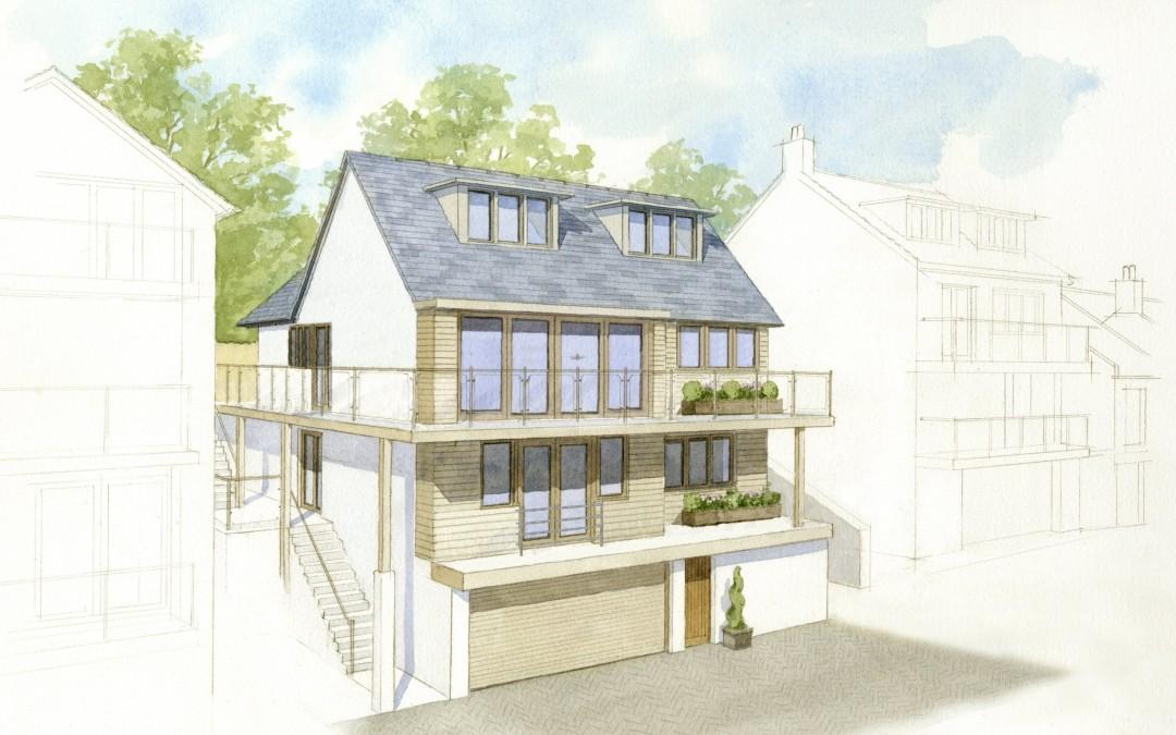Holiday home construction illustration
