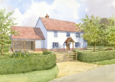 Proposed new house shown in rural setting