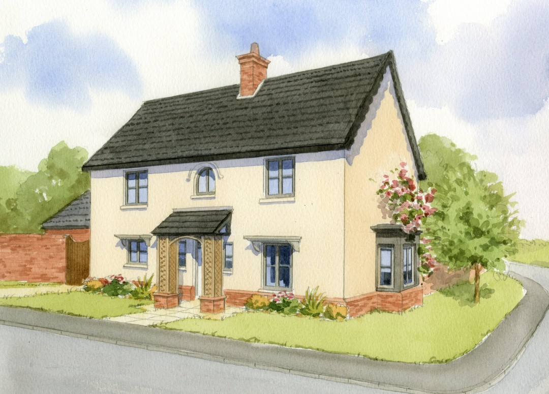 Artist's impression of house type with render