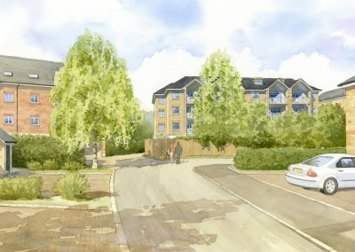 Artist's impression of proposed apartment block in existing setting