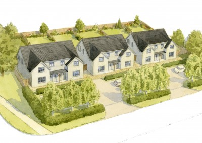 Semi-detached cottages aerial perspective