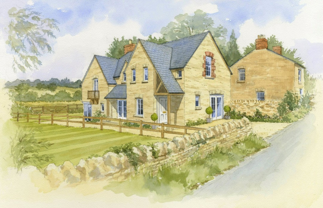 Cotswold stone detached house in its setting