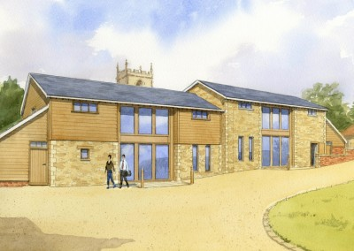 Artist's impression of farm barn conversion to offices