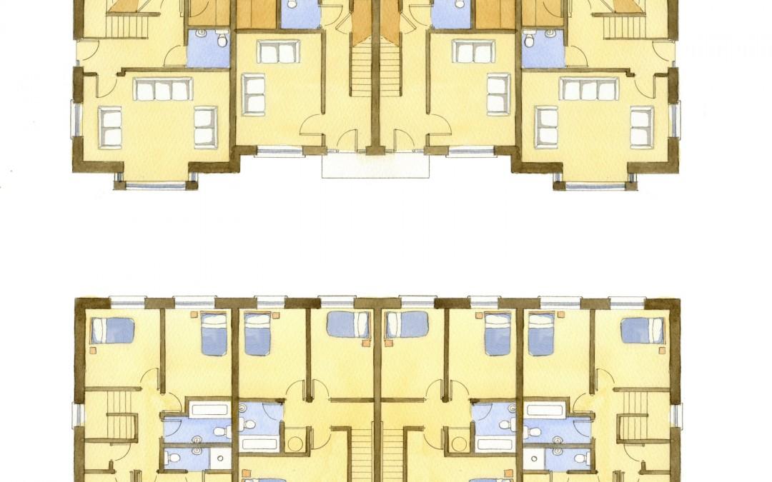 Watercolour house floor plans