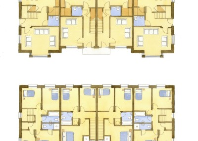 Watercolour house floor plans