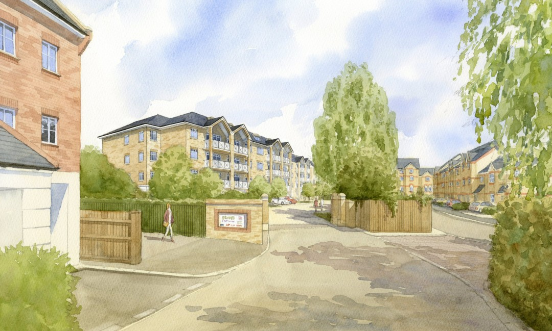 Artist's impression of proposed apartment blocks in existing setting