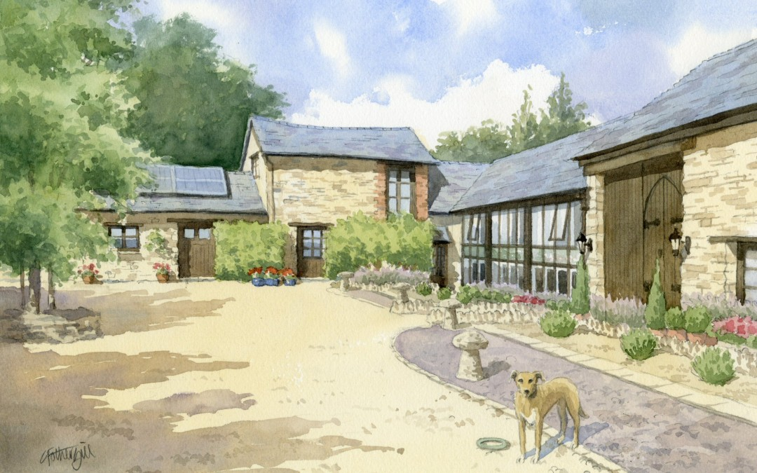 Cotswold Barn Conversion with pet dog