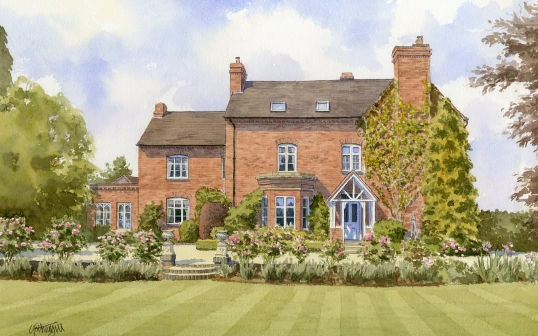 Brick detached villa with garden
