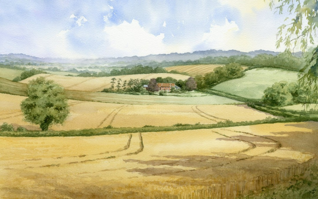 Farmhouse shown within surrounding landscape