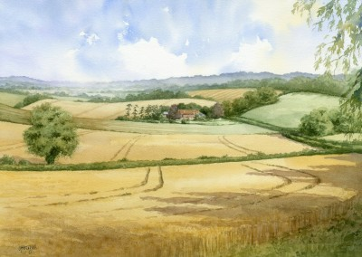 Farmhouse shown within surrounding landscape