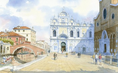 A watercolour painting of Campo SS Giovanni e Paulo, Venice