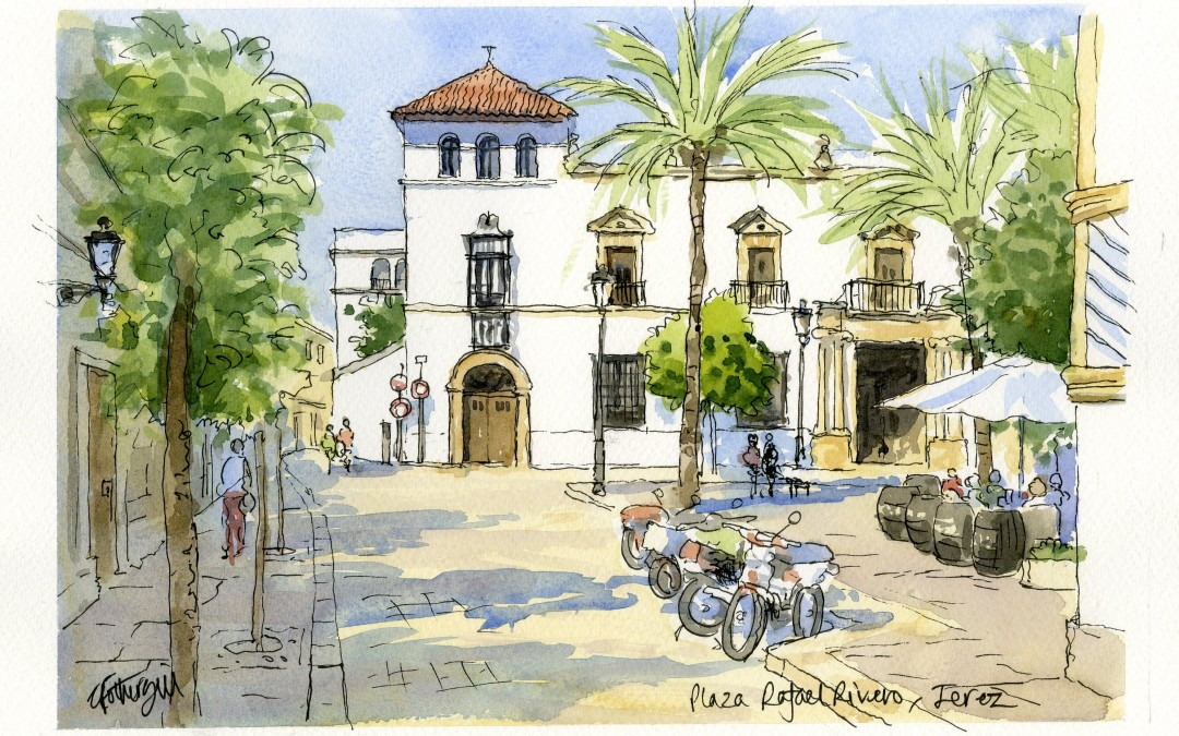 Pen and wash sketch in Jerez de la Frontera, Spain