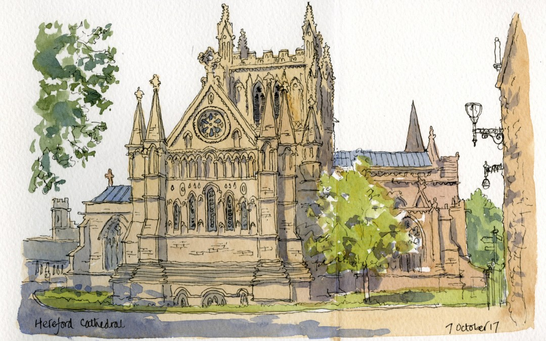 Pen and watercolour sketch of Hereford Cathedral