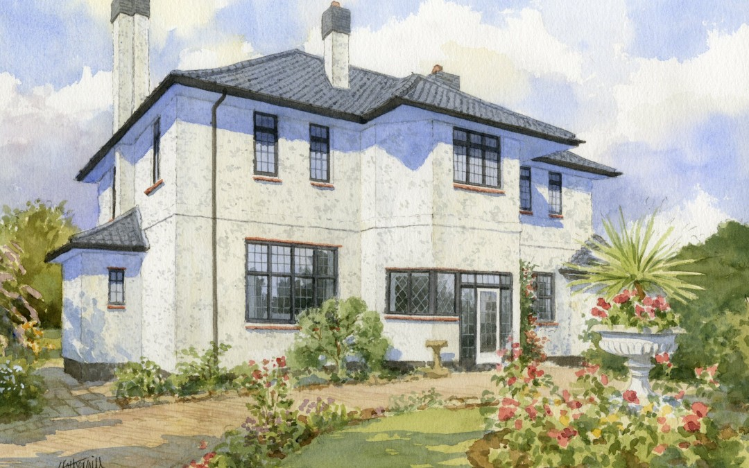 House portrait watercolour, detached white render with garden