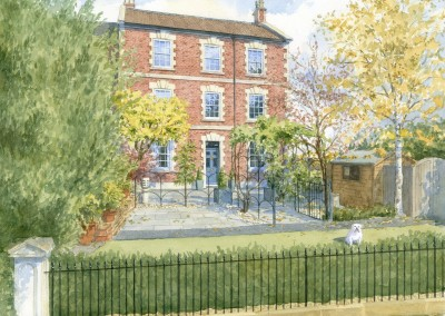 House portrait in watercolour of Georgian three-storey house and garden