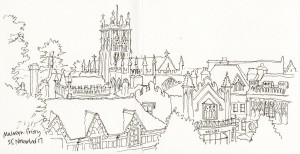 Pen-sketch-Malvern-Priory