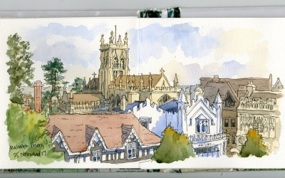 Pen and watercolour sketch of Malvern Priory