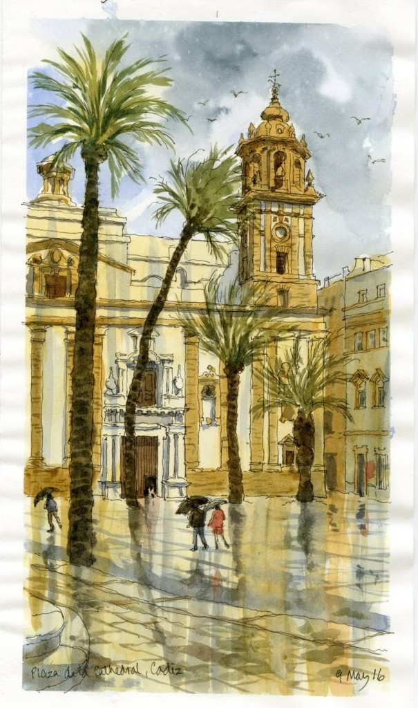 Watercolour-sketch-Plaza-de-la-Cathedral-Cadiz 9 May 16