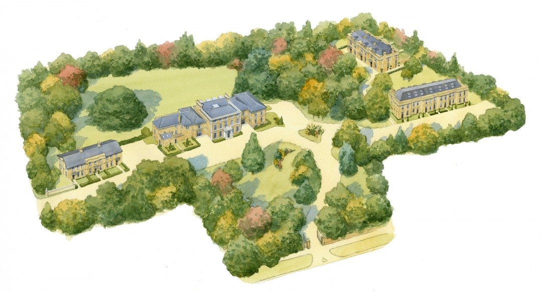 Aerial view over Exclusive Parkland Development