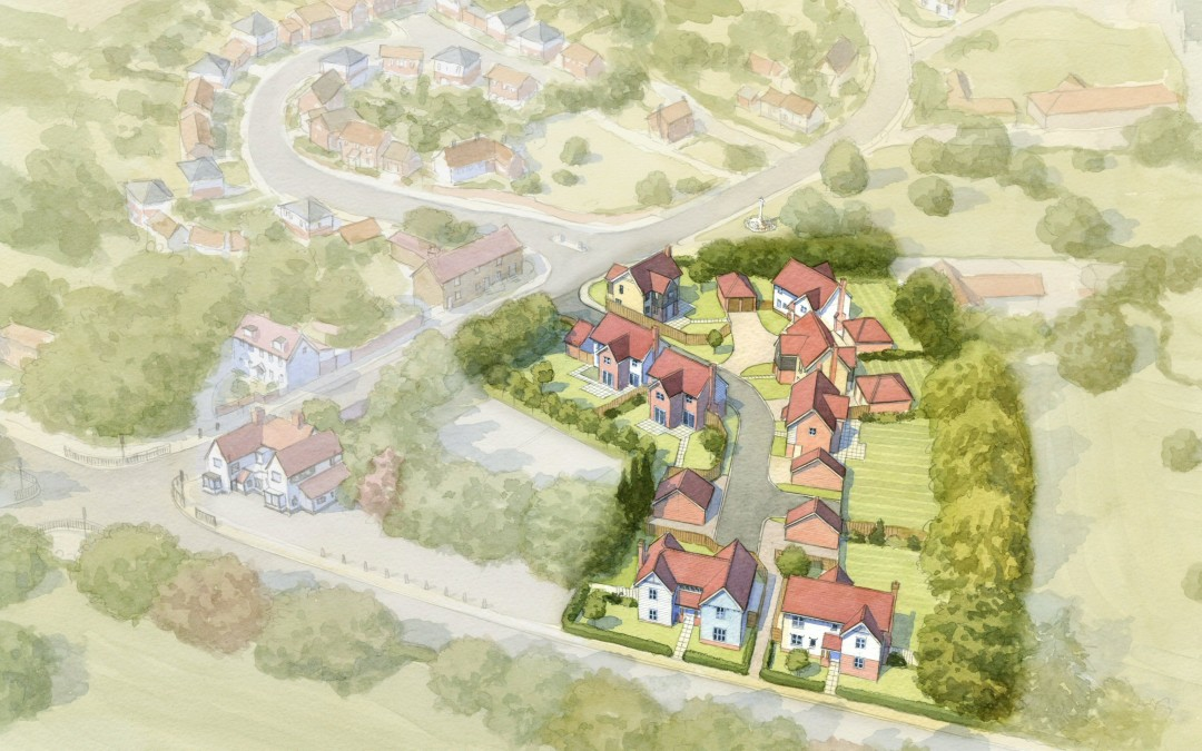Aerial watercolour small residential housing development