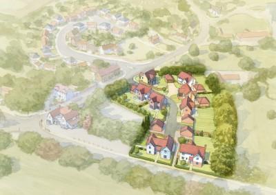 Aerial watercolour small residential housing development